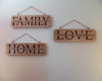 Set of 3, LOVE, HOME & FAMILY, wall hangings, handmade, wooden scroll sawed, word plaques