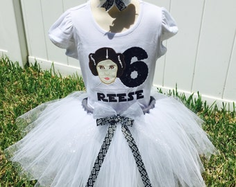 STAR WARS PRINCESS Leia-Tutu Set with Personalized Embroidered Bodysuit or T-shirt and Hair bow