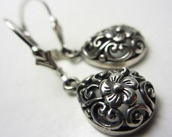 925 Sterling Silver Earrings with Flower Design Handcrafted Teardrop Earrings Swirling Earrings Victorian Style Vintage Style Gift for Her