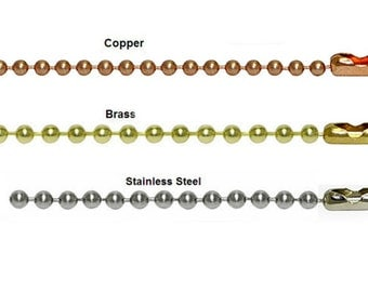 Stainless Steel Ball Chain, Brass Ball Chain, Copper Ball Chain, Jewelry Chain, Finding Supplies, 18 inches 2.4mm, DIY