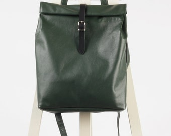 Emerald green leather backpack rolltop rucksack / To order