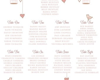 XL A1 Printable Wedding Table plan vintage flowers & bird cages DIY print yourself