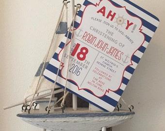 Nautical christening baptism naming day invitation baby boy printable digital anchor stripes