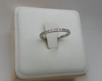 14 k White Gold Diamond Wedding Band/ 14 k White Gold Diamond Stackable Ring/ Gold Wedding Band