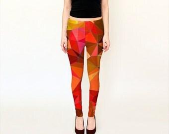 Orange Leggings For Women /  Printed Leggings /  Patterned Leggings  /  Fashion Leggings / Yoga Pants / Geometric Print Leggings