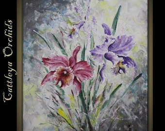 "Original Impasto Modern Art  Painting on  Gallery wrapped Canvas 24"" x 30"", Home Decor, Wall Art ---Cattleya Orchid---"