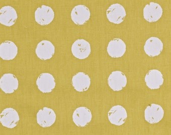 "NEW 0.5 yard Oilcloth - Laminated Cotton tablecloth 52"" white dots on saffron"