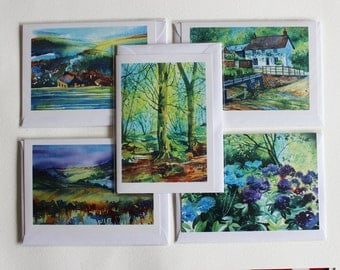 Fine Art card set of 5, Cornwall landscapes, flowers, and village scenes, from original watercolour, card gift set, card set