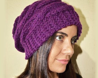 Slouchy cable style beanie hat - DARK VIOLET - womens chunky - accessories - baggy slouch