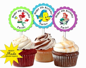 30 ct Little Mermaid cupcake toppers personalized birthday party favors decoration
