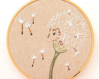 Dandelion Mouse Hoop Art PDF Embroidery Pattern - Hand Embroidery