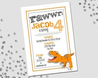 Dinosaur Birthday Party Invitation - Dinosaur Party - Little Dino - Orange Black and Grey - Printable