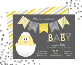 Little Chick Baby Shower Invitation - About to Hatch - Easter Baby Shower - Grey White - BACKSIDE INCLUDED - DIY - Printable