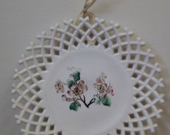 Vintage White Milk Glass Lace Hanging Plate with Cherry Blossom 10.5 inch
