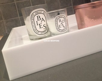 Custom Made Lucite Trays Acrylic White - Various Dimensions