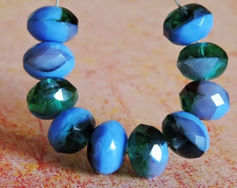 10 ~ French Blue/Emerald 8x6mm Czech Glass Faceted Rondelle Beads
