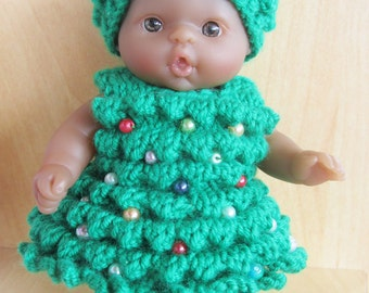 "Christmas Tree Dress Knitting Pattern for 5"" Doll"