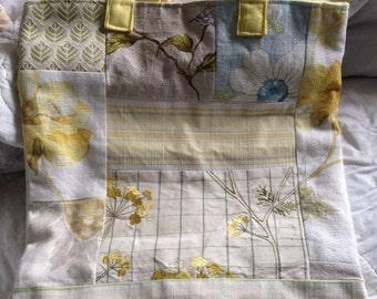 Pretty yellow patchwork market bag, daily shopper