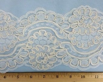 Five inch wide corded Ivory Raschel lace