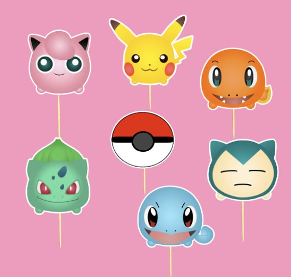 Pokemon Cupcake toppers - Set of 14 Pokemon Cupcake toppers