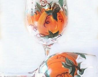 Pumpkin Wine Glasses  -Thanksgiving Decor-  Set of 2-  Fall Wine Glasses- Hand Painted Wine Glasses