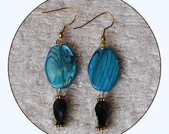 Shell earrings, seashell earrings, long earrings, blue earrings, abalone earrings, faceted beads, beaded earrings, gift for her, Item #EBB36