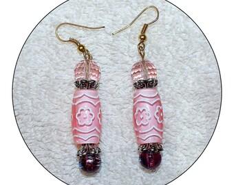 Pink Earrings, handcrafted earrings,pink tube earrings,pink dangle earrings,Mother's Day,pink beaded earrings,pink drop earrings, Item #PE02