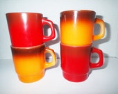 Fire King Ombre cups mugs Set of 4 mid century red and orange