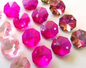 16 Assorted Pink Chandelier Crystal Beads Octagon Shabby Chic Prisms 14mm
