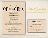 DIY Printable Wedding Invitation Template, Easy DIY Printable, Microsoft Word Invitation, Instant Download, Mr. and Mrs. Script (ID9)