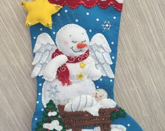 Snow Angel Completed Handmade Felt Christmas Stocking from Bucilla Kit
