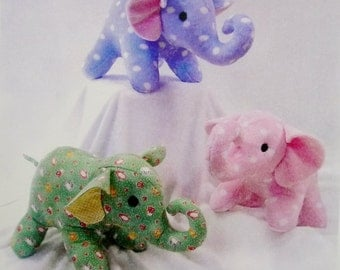 """Stuffed Elephants Sewing Pattern, Ellie and Elwood by Yesterday's Charm, 7 1/2"""" Tall"""
