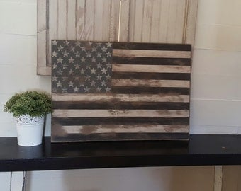 "Vintage look Distressed Black and White American Flag Wall decor-15"" x 9""/Patriotic/Americana/"