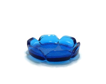 Vintage Anchor Hocking Pebbled Glass Ashtray * Aqua * Turquoise * Smoking Item * Chunky Glass