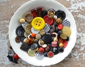 Vintage Button Lot - Red, Yellow, Black and Gold Unique Set Celluloid Sewing Collection Mix 101