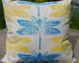 Dragonfly Lino Print Hand Printed Cushion. Yellow&Blue Print,Zip Closure.Printed Back.Unique,Original Design From Original Drawing.