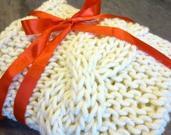 Knitted chunky blanket