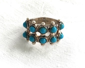 Navajo Sterling Ring Snake Eyes Vintage Native American Jewelry Size 6 Signed Espo