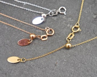 Adjustable Gold Chain, 14 Inch to 20 Inch Chain Necklace, Adjustable Chain, Cable Link, Rolo Chain, Solid 14 KT Yellow, Rose or White Gold