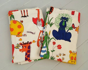 Vintage Curtains 1970's Jolly Polly Animals