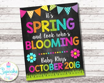 Spring Pregnancy Announcement | Look Who's Blooming | April May | Chalkboard Sign | Pregnancy Reveal | Spring Baby Photo Prop | Digital