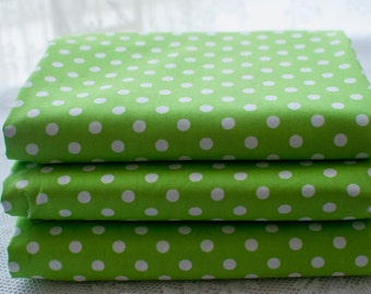 Fat Quarters ~ Lime Green Polka Dot ~ Spot Fabric ~ Cotton Fabric