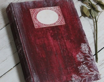 Handmade rustic red wedding photo album | unique wedding scrapbook | 8x10 inches Made To Order