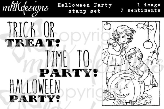 Halloween Party Digital Stamp Set