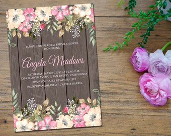 Rustic Invitation, Floral Invitation, Bridal Shower, Wedding Shower, Baby Shower, Engagement Party, Watercolor, Printable - Angela