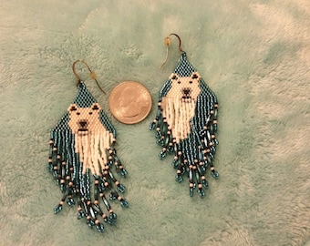 Polar Bear Seed Bead Dangle Earrings