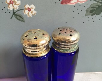 Vintage Pair of Blue Glass Salt and Pepper Shakers