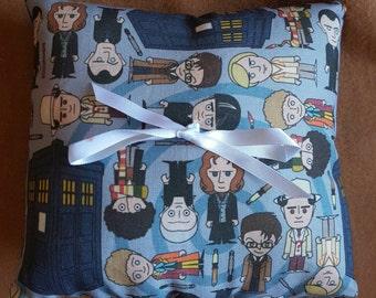Doctor Who inspired wedding ring bearer pillow cushion