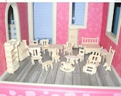 HOT SUMMER SALE 30% off Miniature dollhouse bunch of jigsaw wood furniture 1:24 scale