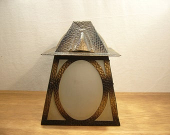 Vintage Arts & Crafts style hammered metal and glass porch light shade